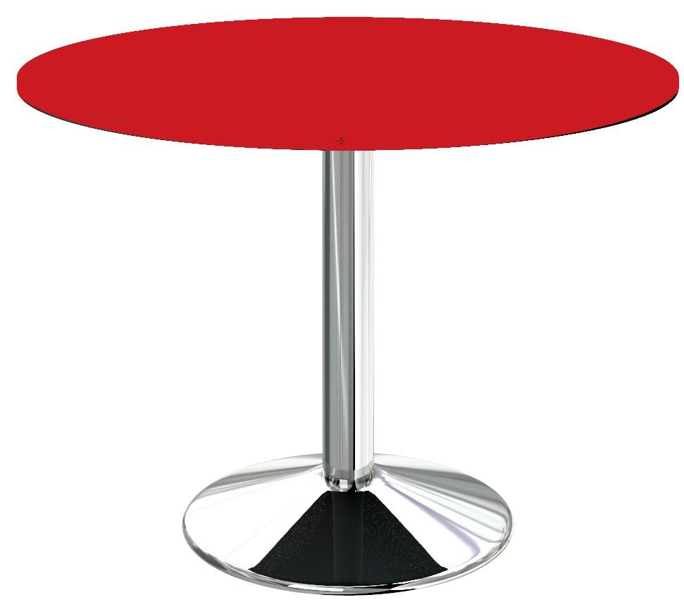 Table cuisine pied central chrome plateau rond rouge