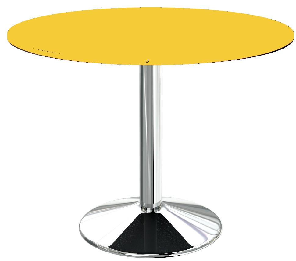 Table de cuisine de forme ronde en coloris jaune et pied central chromé