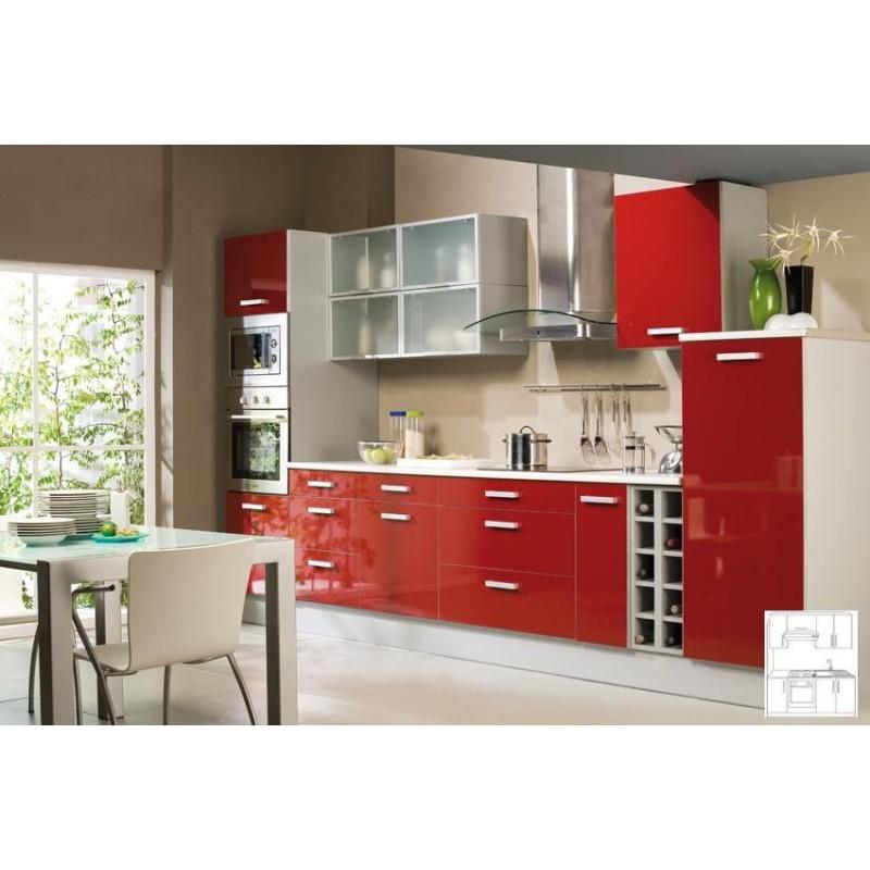 Nouvelle Cuisine équipée: Cuisine-équipée-rouge-façade-stratifiée