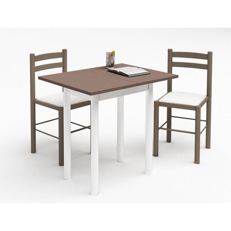 Petite Table De Cuisine Plateau Melamine Pieds Metal 2 Chaises En Hetre