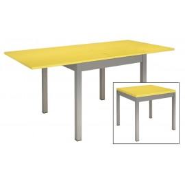Table de cuisine-métal et bois jaune