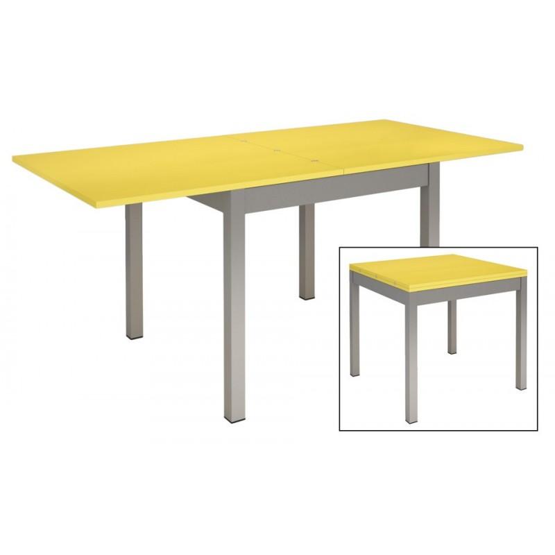 table-de-cuisine-metal-et-bois-jaune
