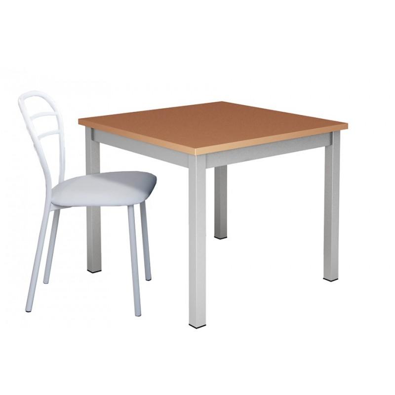 Table De Cuisine Carree Et Pieds Metal Plateau Bois Coloris Au Choix