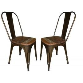 Chaises métal assise bois