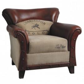 Gros fauteuil cuir et tissu avec impression