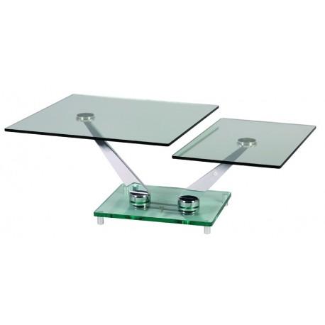 Table basse 2 plateaux verres articulés
