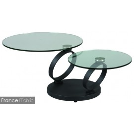 Table articulée 2 plateaux en verre rond