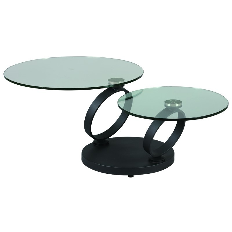 Table Basse De Salon 2 Plateaux Verres Rond Articules