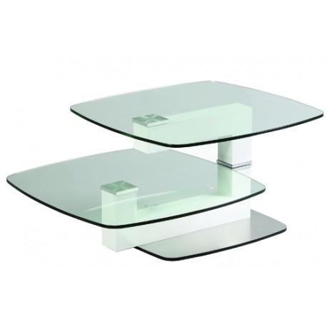 Table basse inox bois verre