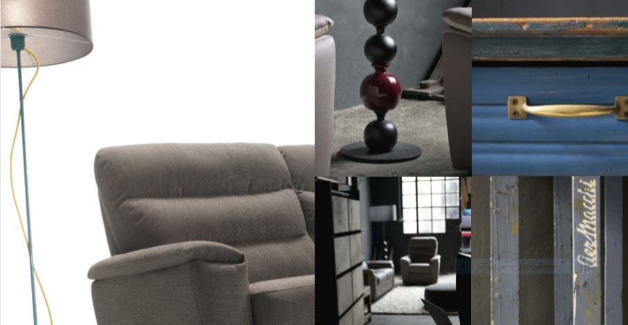 Canapé et fauteuils en cuir tissu